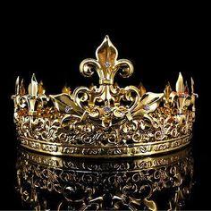 Men's Imperial Medieval Fleur De Lis Gold King Crown High Diameter - Gold Jewelry Royal Crowns, Royal Jewels, Tiaras And Crowns, Crown Jewels, Gold King Crown, Kings Crown, Crown Aesthetic, Gold Aesthetic, Diy Schmuck