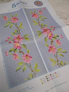 Sajou Berlin Woolwork Chart Cross Stitch Petit Point Apple Blossom | eBay