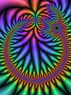 Fractals - Fine Art Fractal - By Unknown Art Fractal, Fractal Design, Art Optical, Optical Illusions, Illusion Art, Psychedelic Art, Op Art, Sacred Geometry, Circle Geometry
