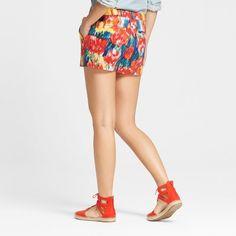 Women's 3 Floral Chino Shorts - Merona Watercolor 12, Pink