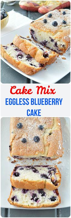Eggless Blueberry Cake Using Cake Mix. Sharing a simple and sweet eggless cake that is loaded with blueberries. This is a perfect no -fuss cake recipe for potlucks, picnics and game nights. Sprinkle it with powdered sugar and enjoy a warm and delicious bite!