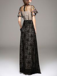 Embroidery Lace Maxi Dress