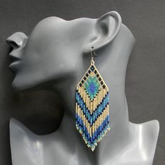 Large ethnic style seed bead earrings cream blue by Anabel27shop