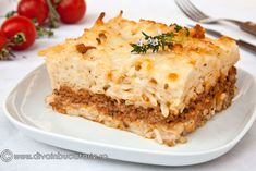 pastitsio---lasagna-greceasca Pasta Bake, Greek Recipes, Lasagna, Food And Drink, Cooking Recipes, Favorite Recipes, Breakfast, Ethnic Recipes, Lunches