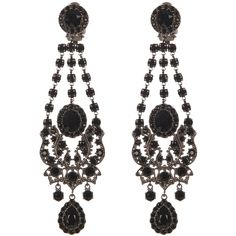 Givenchy Victorian-style chandelier earrings ($820) ❤ liked on Polyvore featuring jewelry, earrings, gunmetal earrings, gunmetal jewelry, filigree earrings, black earrings and gothic jewelry