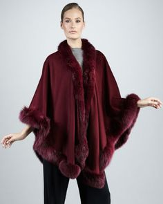 Sofia Cashmere Fox Fur-Trimmed Cashmere U-Cape, Plum - Neiman Marcus Look Fashion, Fashion Outfits, Womens Fashion, Fashion Design, Pancho Outfit, Cashmere Cape, Red Fur, Fur Cape, Tweed