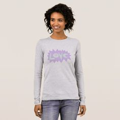 LOVE BURST in Lavender women's grey t-shirt - diy cyo customize create your own personalize