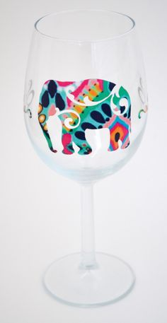 Elephant wine glass in Lilly Pulitzer Crown Jewels patten vinyl. Etsy $10