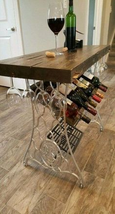 57 Ideas for kitchen rustic bar wine racks Repurposed Furniture Bar ideas kitchen racks Rustic Wine Sewing Machine Tables, Antique Sewing Machines, Sewing Table, Furniture Makeover, Diy Furniture, Barrel Furniture, Wine Rack Inspiration, Wine Rack Bar, Wine Rack Table