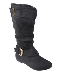 Another great find on #zulily! Black Shelley Wide-Calf Slouch Buckle Boot #zulilyfinds
