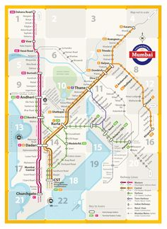 Unofficial Map: Suburban Rail Network of Mumbai, India -- designed by two students at the Mumbai Industrial Design Centre to be useful for the largely illiterate population.
