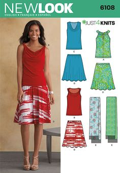 New Look 6108 from New Look patterns is a top, skirt, and scarf sewing pattern