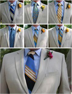 groom and groomsmen in a variety of ties