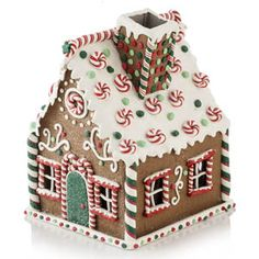 Gingerbread Candy House - Gingerbread Candy-cane House - x x High Homemade Gingerbread House, Gingerbread House Candy, Graham Cracker Gingerbread House, Cardboard Gingerbread House, Gingerbread House Designs, Gingerbread Decorations, Gingerbread House Decorating Ideas, Gingerbread Train, Gingerbread Village