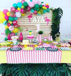 Aloha Party, Moana Birthday Party, Hawaiian Birthday, Moana Party, Luau Birthday, Luau Party, Birthday Parties, Flamingo Party, Flamingo Birthday