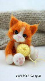 Fart filc i nie tylko Wool Needle Felting, Needle Felting Tutorials, Needle Felted Animals, Felt Animals, Crochet Animals, Felt Cat, Cat Doll, Felt Dolls, Stuffed Animals
