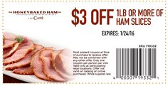 #Coupons for #HoneyBaked goodness are always the best kind of deals, don't you agree?! Stop in and see us. We're on Douglas Blvd. next to IHOP! Ham Store, Honey Baked Ham, Baking With Honey, Hot Dog Buns, Coupons, Side Dishes, Sandwiches, Turkey, Beef