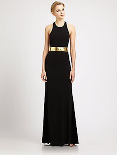 Black gown with gold belt! Just enough gold to flaunt for the season! LOOOOVE!!!!