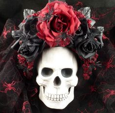 Headdress--Handmade Masquerade/Costume/Halloween/Day of the Dead Headdress by Effigy,-Crimson Spider-