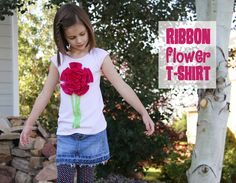 DIY Ribbon Flower Tshirt.....great way to transform a plain ol' shirt into something really darling!  www.makeit-loveit.com