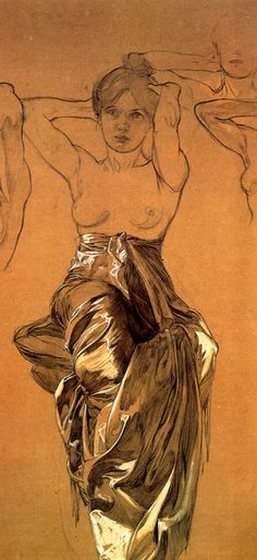 By Alphonse Mucha, 1 9 0 0, Study of drapery, Crayon with white gouache (detail).