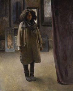 This was one of my favourite BP portraits. It is a self-portrait, portraying someone alone, in a dark room. The painting is composed of a dark palette, yet the girl seems to have a particularly young, and expressive face. This makes me like the painting, as it is subtle, but also seems to hold an air of uncertainty. The curtain she stands next to, could be hiding something, or it could just be a curtain. The question is, who knows?