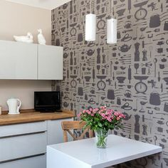 Our Graduate Collection Airfix Kitchen Wallpaper designed by Victoria Eggs will offer a spot of inspiration for any aspiring domestic god or goddess. Kitchen Wallpaper Duck Egg, Elegant Kitchen Wallpaper, Kitchen Wallpaper Design, Kitchen Design, Hallway Wallpaper, Bathroom Wallpaper, Home Wallpaper, Wallpaper Roll, Wallpaper Ideas