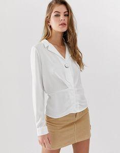 6631d4e0c3e Белая блузка с V-образным вырезом и сборками Pimkie