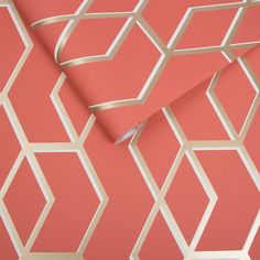 Sample Archetype Wallpaper in Coral and Gold from the Exclusives Collection by Graham & Brown Pink And Gold Wallpaper, Accent Wallpaper, Dining Room Wallpaper, Navy Wallpaper, Orange Wallpaper, Modern Wallpaper, Geometric Wallpaper, Wallpaper Ideas, Coral Accent Walls