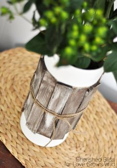 rustic wood shim glass vases-