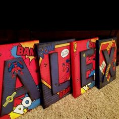 Hudson's big boy room-maybe use superman-Spiderman Letters wall decor - by modgeandapodge on etsy- would look great in a superhero bedroom Kids Bedroom, Bedroom Decor, Bedroom Ideas, Bedroom Boys, Boy Rooms, Trendy Bedroom, Name Wall Decor, Superhero Room, Superhero Letters