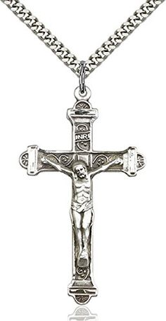 Large-Detailed-Mens-925-Sterling-Silver-Highest-Quality-Crucifix-Cross-Medal-Pendant-1-78-x-1-Inches-Comes-with-a-Stainless-Silver-Heavy-Curb-Chain-Neckace-And-a-Black-velvet-Box
