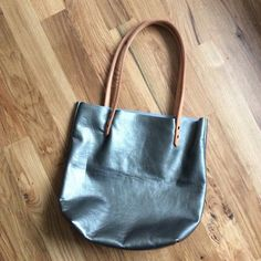 Metallic Leather Tote • Blue Steel Leather Bag • Everyday Tote • Large Light Blue Book Bag • Natural Tan Straps