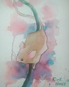 Rato loko!!! #watercolor #aquarela #mouse #rato #roedor #roedores #camundongo #watercolortattoo #tattoo #cute #kawaii by rick_munin