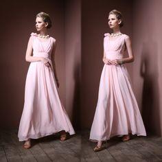 浪漫女神飄逸雪紡手工肩花高腰長禮服#designer#fashion#style#prom#dress