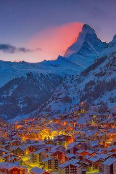 Beautiful Landscape photography : Zermatt Winter Sunset by Brad Hays Zermatt, Places To Travel, Places To See, Travel Destinations, Places Around The World, Around The Worlds, Beautiful World, Beautiful Places, Landscape Photography