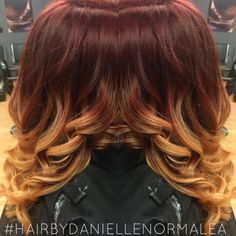 Bayalage ombre tonight! Loving this colors together! ❤️✂️ #hairbydaniellenormale #ombre #bayalage #red #redombre #ombres #lorealprofessional #dialight #haircolor #colorist #hairstylist #curls #hairpost #btcpics #modernsalon #bellacosa #hairbydaniellenormalea #comegetyourhairdone  #madewithstudio