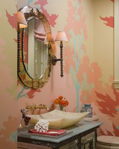 love the wallpaper and the sink!