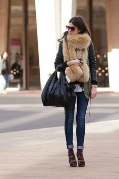 With strappy leopard heels winter looks, winter style, fur fashion, teen fa Fur Fashion, Look Fashion, Teen Fashion, Womens Fashion, Fashion Trends, Fashion Guide, Fashion Styles, Stylish Winter Outfits, Casual Outfits