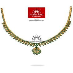 Traditional gold necklaces for women from the house of Kameswari. Shop for antique gold necklace, exquisite diamond necklace and more! Gold Pendant Necklace, Stone Necklace, Emerald Jewelry, Gold Jewelry, India Jewelry, Jewellery, Blue Sapphire Necklace, Gold Earrings Designs, Diamond Bangle