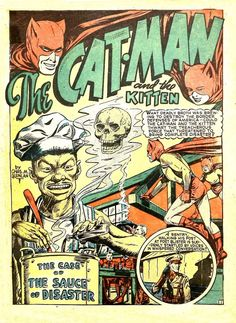 splash page for catman v.3#1 by holyoke comics.  yes, that's right it's catman and his juvenile female sidekick kitten.  oh, those were different times.