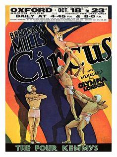 Vintage Circus Poster Print - Bertram Mills Acrobats The Four Kemmys Vintage Poster Size Book Plate Old Circus, Circus Art, Cirque Vintage, Circus Acrobat, Vintage Circus Posters, Art Tribal, Poster Prints, Art Prints, Vintage Ephemera