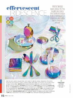 As seen in the Trend Issue of Better Homes and Gardens Magazine, the rainbow-inspired look of iridescence improves everyday items and our mood. Rainbow Kitchen, Unique Christmas Trees, New Interior Design, Exterior, Home Trends, Diy Party Decorations, Better Homes And Gardens, Room Themes, Inspired Homes