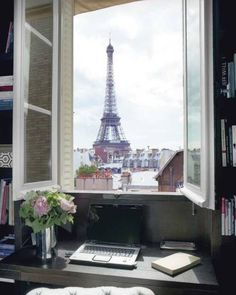 Eiffel Tower through the window ~ who could get any work done? #paris