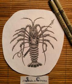 The Crayfish is finished!!! #darkartists #blackwork #dotwork #linework #drawing #art #micron #sea #crayfish #harpoon #sketch #tattoo #Made_in_Chrome #CHROME_POWER_WORKSHOP