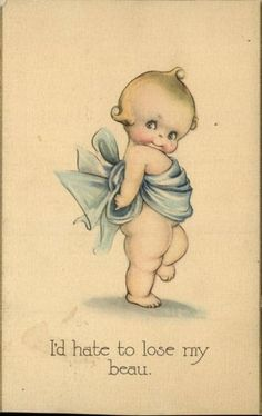 "Kewpie ""I'D Hate to Lose My Beau "" c1910 Old Postcard 