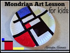 Geometric Style Like Mondrian for Kids - In this post I give suggestions for making the teaching process easy and it's a great way to introduce basic art design to children. | Harrington Harmonies