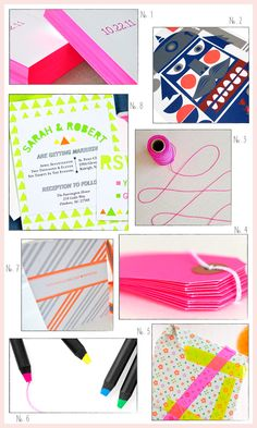 Inspired By: Neon! via @Oh So Beautiful Paper: http://ohsobeautifulpaper.com/2011/10/inspired-by-neon/   1. Delphine; 2. Bombina Studios; 3. @angela hardison via @You Are My Fave; 4. Knot & Bow; 5. Minimega; 6. @MoMA Design Store; 7. @Claudia Smith   Fig. 2 Design Studio; 8. @Alison Citron #neon