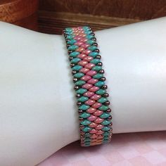 Super Duo Turquoise and Coral Beaded Bracelet, Turquoise and Coral Bracelet, Super Duo Beaded Bracelet