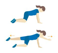 Four-Point Kneeling Kneel on the ground and place your hands flat on the ground so you are in a crawling stance. Contract the pelvic floor and raise one leg while lifting the opposite arm. Hold for a few seconds, and return to the starting position, repeating with the opposite arm and leg. Repeat for two to three sets of 10 reps each.